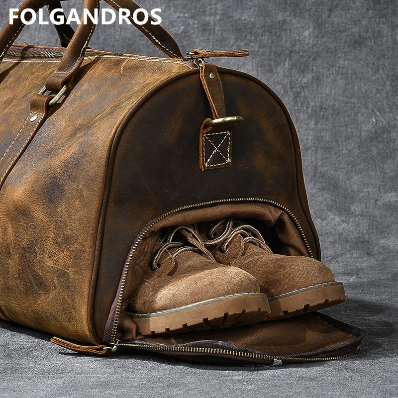 Bagaj ve Çantalar'ten Seyahat Çantaları'de Erkek Yumuşak Dana Seyahat silindir çanta Hakiki Deri Büyük Kapasiteli Iş Seyahat Çantası Çılgın At Deri Erkek Çok Yönlü Tote'da  Grup 1