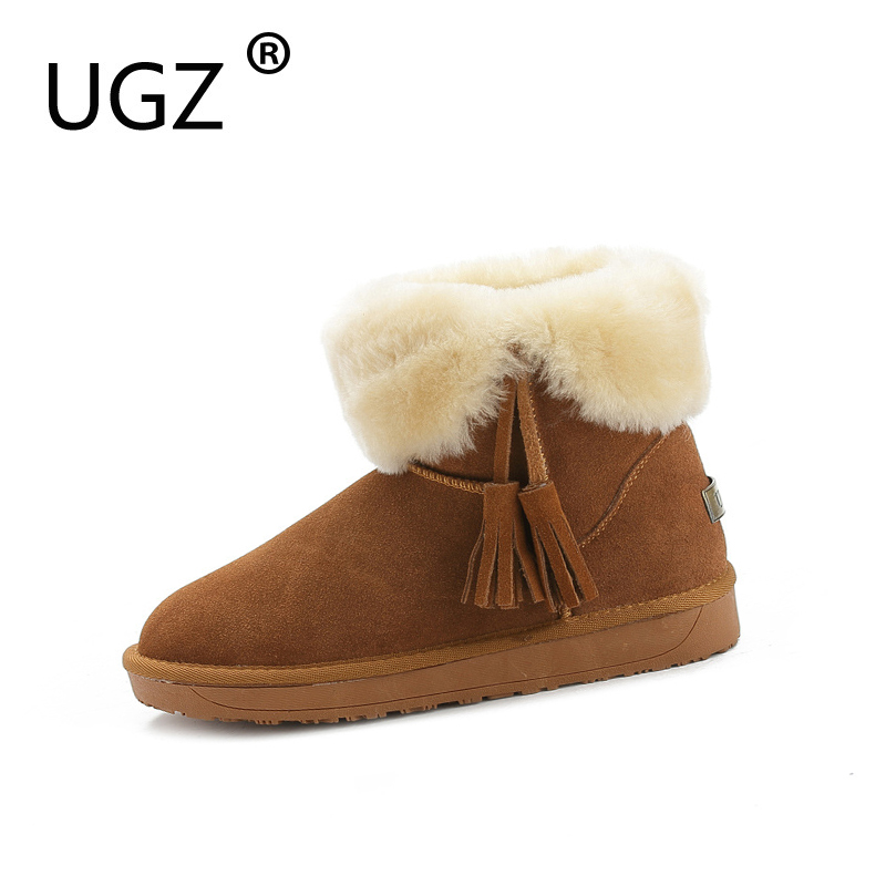 UGZ Winter Boots Woman Slip On Tassels Pure Color Snowboots Fashion Ankle Genuine Leather Warm Shoes Size 35-39 slip on winter boots stretch lycra