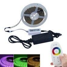 RGB Wนำแถบ5เมตร300LED W LEDเทปแถบแสงที่มี3Aพลังงานและ2.4กรัมRFสัมผัสควบคุม