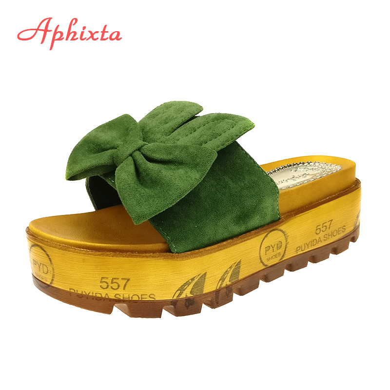 Aphixta Summer Wedge Tøfler Platform High Heels Kvinder Slipper Ladies Outside Shoes Bowtie Slipper Clog Flip Flop Sandaler