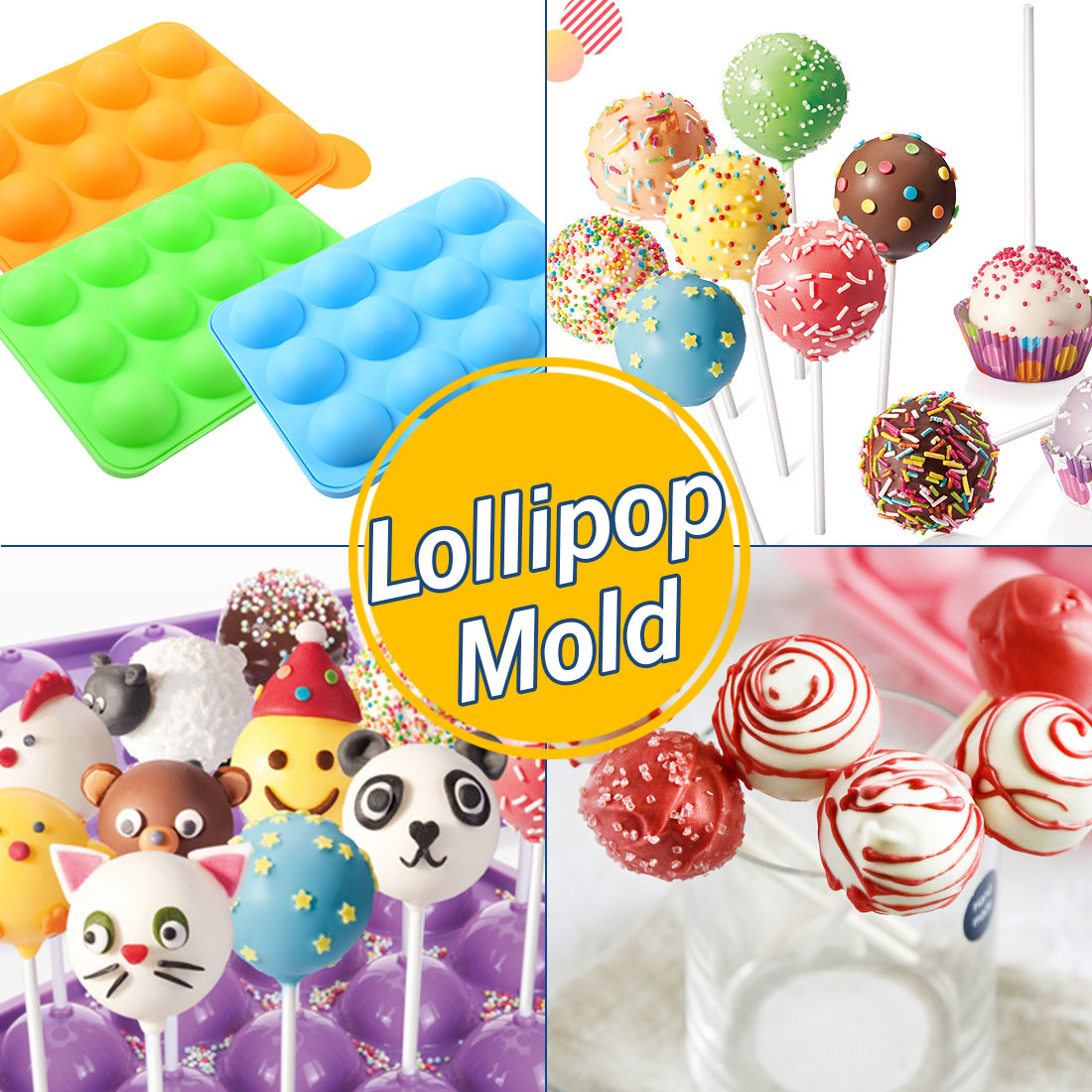 Baking & Pastry Tools Bakeware Beautiful Silicone Round Lollipop Cake Chocolate Soap Pudding Jelly Candy Ice Cookie Biscuit Mold Mould Pan Bakeware Wxv Sale