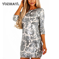 Yozihayl 2018 Women Sexy Silver Sequins Short Mini Dress Club Evening Slim 3 4 Sleeve Party