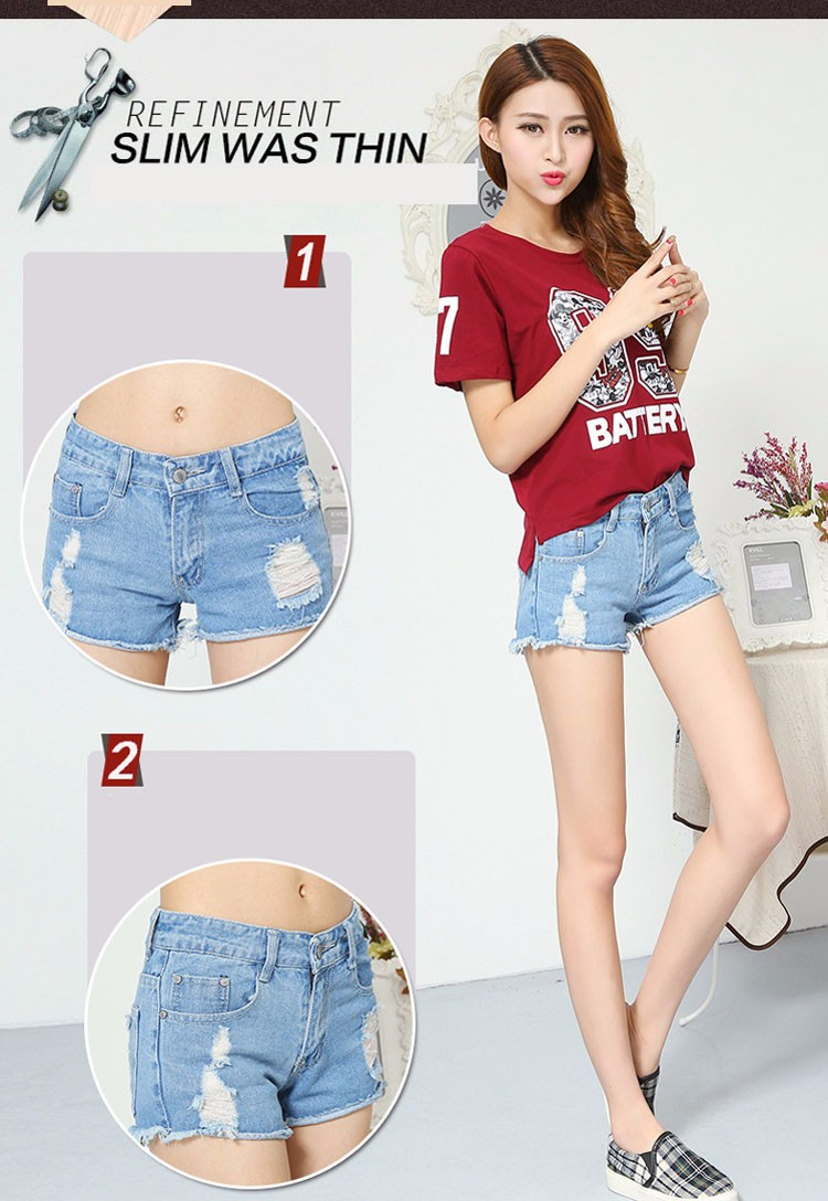 Fashion women Korean summer denim shorts sexy punk rivet hole mini jeans shorts soft bottom plus size female blue shorts A160 E