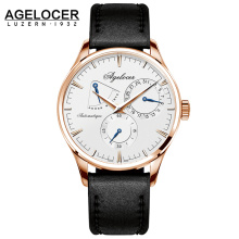 Agelocer Army Retro Watch Power Reserve 42 Hours Rose Gold Silver Case Multi-function Watch Auto Date 5ATM Waterproof