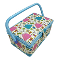 D&D Household Storage Box Cotton Fabric Crafts Sewing Basket With DIY Sewing Tools 27.5*17.5*15cm