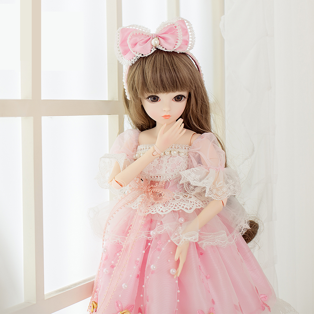 1 3 SD BJD Dolls 18 Joints With Shoes Wigs Makeup Pink Party Dress Girls  Toys Beautiful Doll Reborn Girl Best Gifts 478ad45445e5