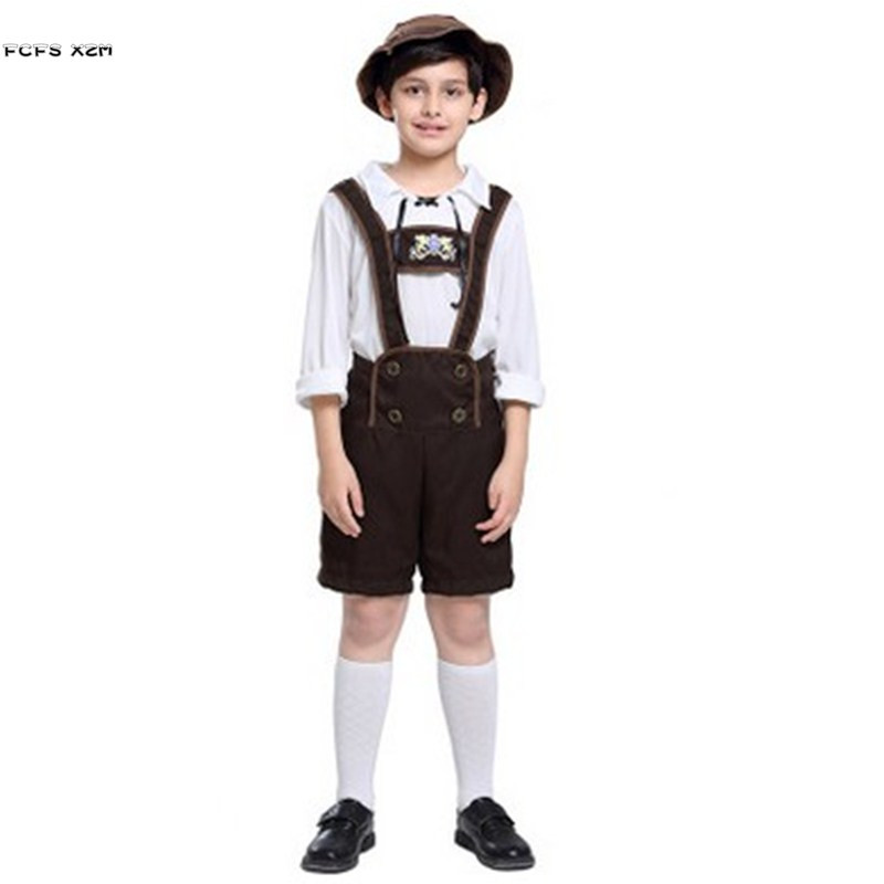 S-XL Halloween Oktoberfest Costumes for Boys Children European traditional cloth Cosplays Carnival Purim Masquerade Party dress