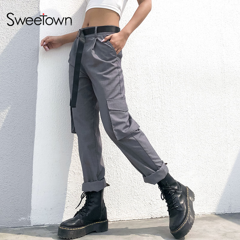 Sweetown Gray Office Lady Elegant High Waist Straight Pants Streetwear Spring Autumn Zipper Fly Workwear Classy Long Trousers
