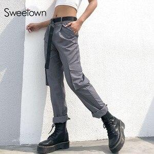 Sweetown Gray Office Lady Elegant High Waist Straight Pants Streetwear Spring Autumn Zipper Fly Workwear Classy Long Trousers