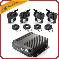 4Ch Car Hard Drive AHD Mobile DVR SD + 4 Video Cable + 4 AHD 1200TVL Camera Car Mobile DVR System