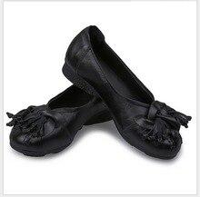 National wind Flowers Handmade Genuine Leather Shoes Women Retro Soft Bottom antiskid mother  shoes Ballet Flats