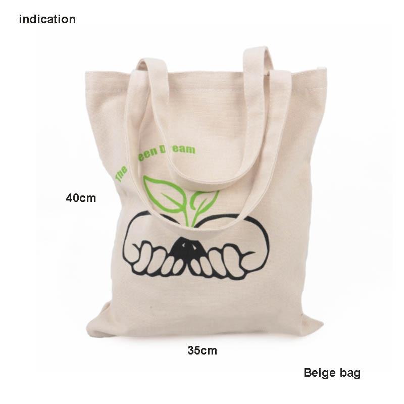 100Pcs/Lot Beige Size 35*40Cm Company Advertising Customized Logo Colors Print Canvas Cotton Tote Bag Eco Bag