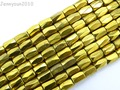 Metallic Gold Natural Joyas de Hematita piedra Facetada Granos Del Tubo 5x8mm para la Joyería Que Hace Manualidades 10 Filamentos/paquete