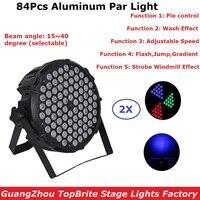 2Pcs Lot Flat LED Par Cans 84X3W RGB 3IN1 LED Par Lights DJ Par Cans Aluminum