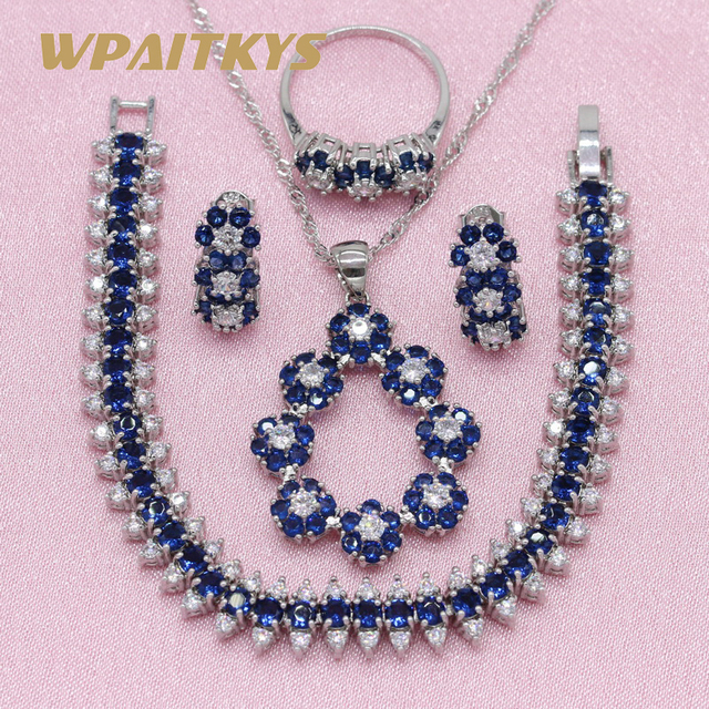 Exquisite Royal Blue Stone 925 Silver Jewelry Sets For Women Wedding Earrings Br