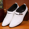 The fashion leisure men's leather shoes white black fold belt buckle decoration tip size 39-44 men  shoes men's