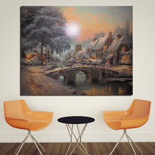 цена на Thomas Kinkade Cobblestone Christmas HD Canvas Painting Living Room Home Decoration Modern Wall Art Oil Painting Poster Pictures