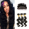 Brazilian Virgin Hair Body Wave Lace Frontal Closure With Bundles Unprocessed 13X4 Ear To Ear Lace Frontal Closure With Bundles