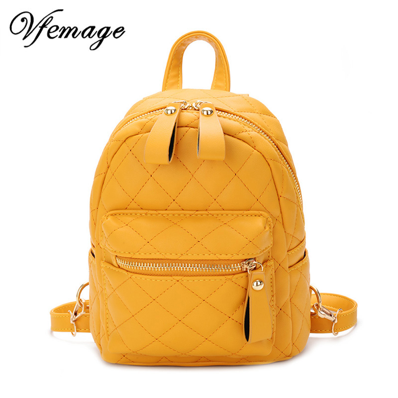 Vfemage Teenager Girls Small Backpack Female Lingge Leather Backpack Purse Women Mini School Bags Cute Funny Backpack For Girls