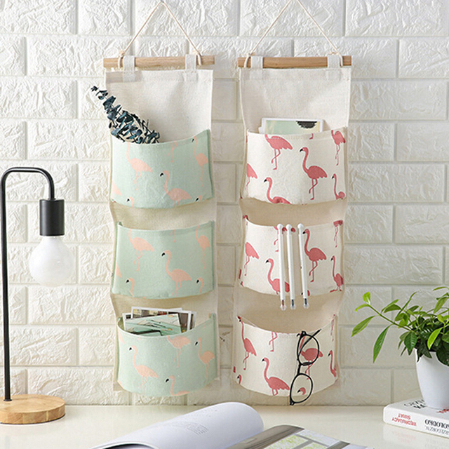 Flamingo Pattern Cotton Linen Hanging Storage Bag 3 Pockets Wall Mounted Wardrobe Hang Pouch