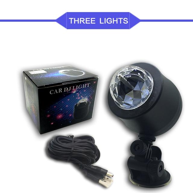 Car-styling USB Interior Light Atmosphere Lamp Crystal Magic Ball Music Control DJ Light 3 LED Bulbs KTV DJ Disco Laser Light 4