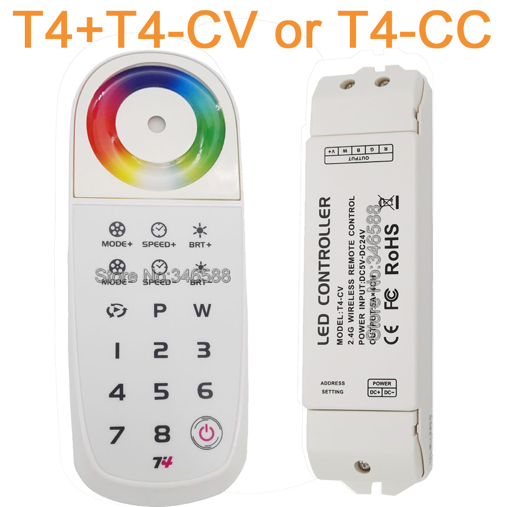 T4 2.4G RF LED Touch Panel RGBW LED Programmable Remote Sync Zone Controller Built-in Lithium Battery & T4-CV or T4-CC Receiver m3 m4 5a m3 touch rf remote with m4 5a cv receiver led dimmer controller dc5v dc24v input 5a 4ch max 20a output