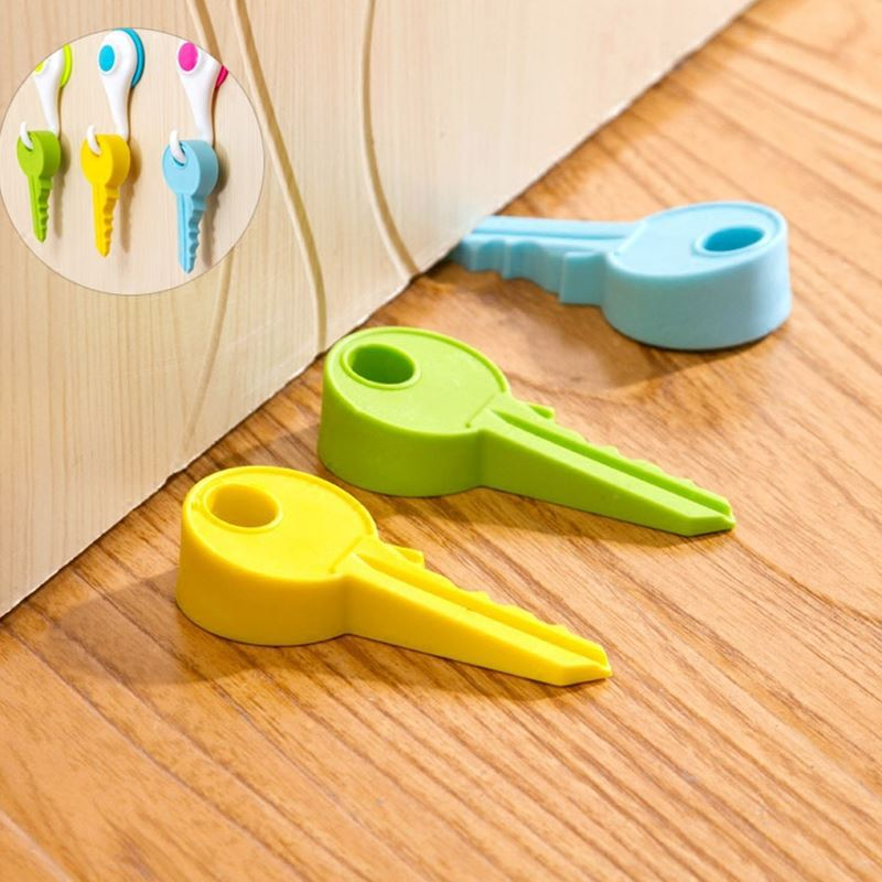 UmaUbao 2 Pcs 10cm New Silicone Key Style Home Decor Finger Safety Door Stop Stopper Doorstop Wedge Protection For Baby