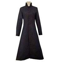 2018 Matrix Black Cosplay Costume Neo Trench Coat Only Overcoat Woolen