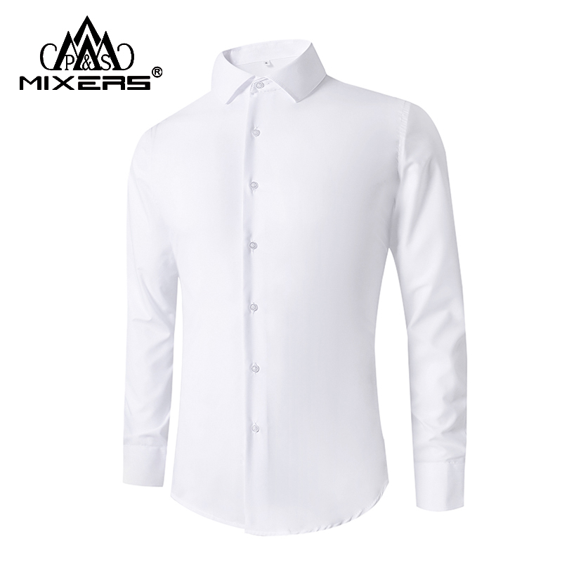 2018 Men's Formal Dress Shirts Long Sleeve Boy's Student School Casual Shirts Slim Fit Solid Wedding Shirt Men Clothes 2018