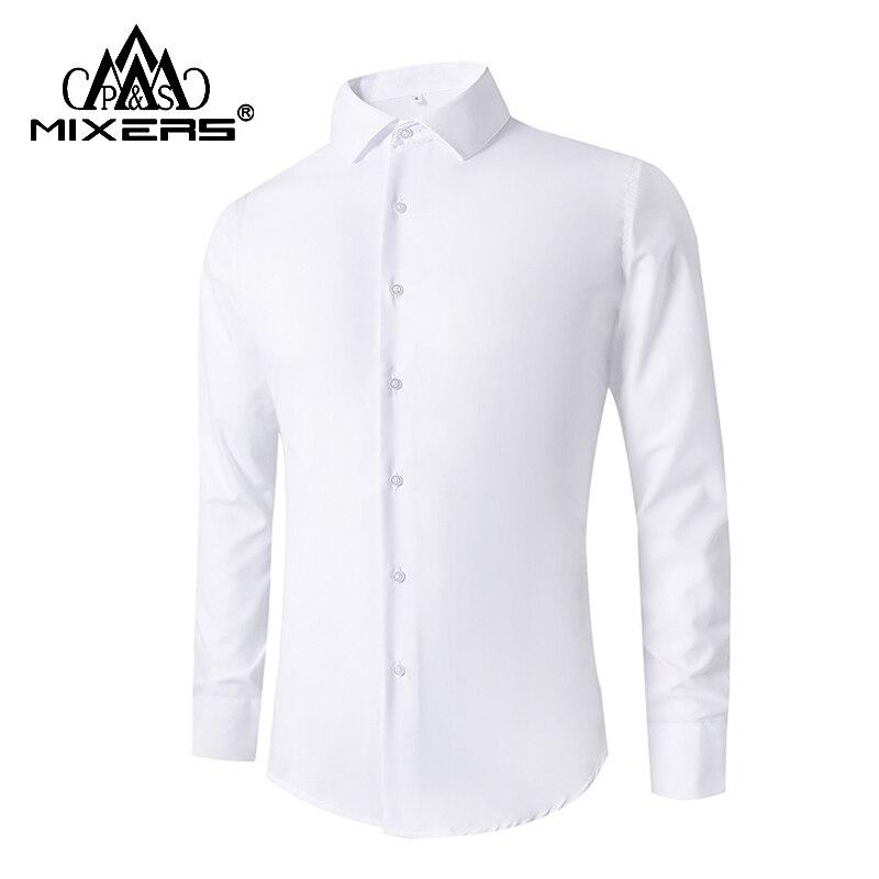 2018 Men's Formal Dress Shirts Long Sleeve Boy's Student School Casual Shirts Slim Fit Solid Wedding Shirt Men Clothes 2018