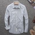 2016 Весной И Осенью Мужчины Мода Краткое Сплошной Цвет Оксфорд шелковая Ткань Рубашки Белая Рубашка Мужчины Slim Fit Хлопка С Длинным рукавом рубашки