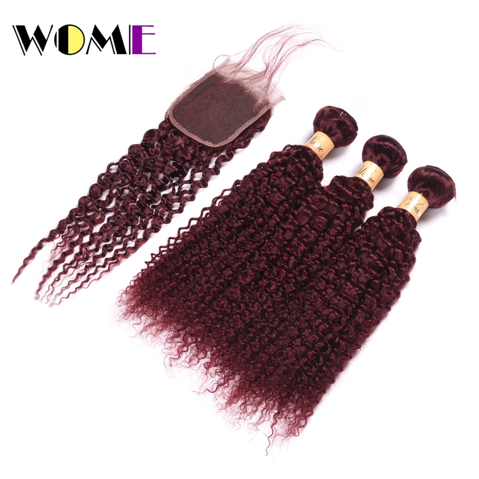 Wome Pre-colored Raw Burmese Hair Weave Bundles With Closure 3 Bundles With Lace Closure Kinky Curly 99j Bundles With Closure