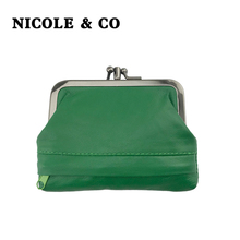 NICOLE & CONew Genuine Leather Coin Purse Womens Sheepskin Change Metal Hasp Closure Card Holder Wallet Zipper Small Bag