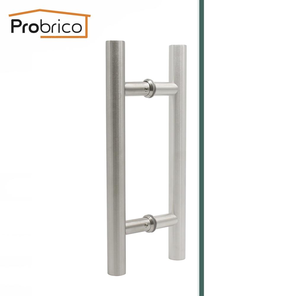 Probrico Inter/Outside Door Handles Stainless Steel Hollow Thick Door Pulls Wardrobe Furniture Handles Sliding Barn Door Handle цена и фото