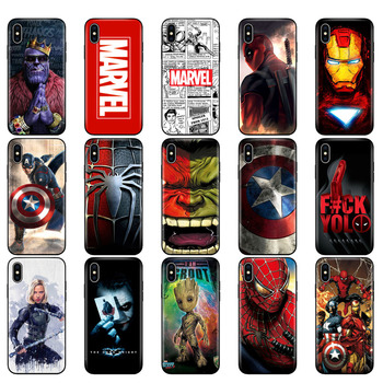 Black tpu case for iphone 5 5s se 6 6s 7 8 plus x 10 XR XS MAX case silicon cover Marvel Avengers captain ironman thanos 1