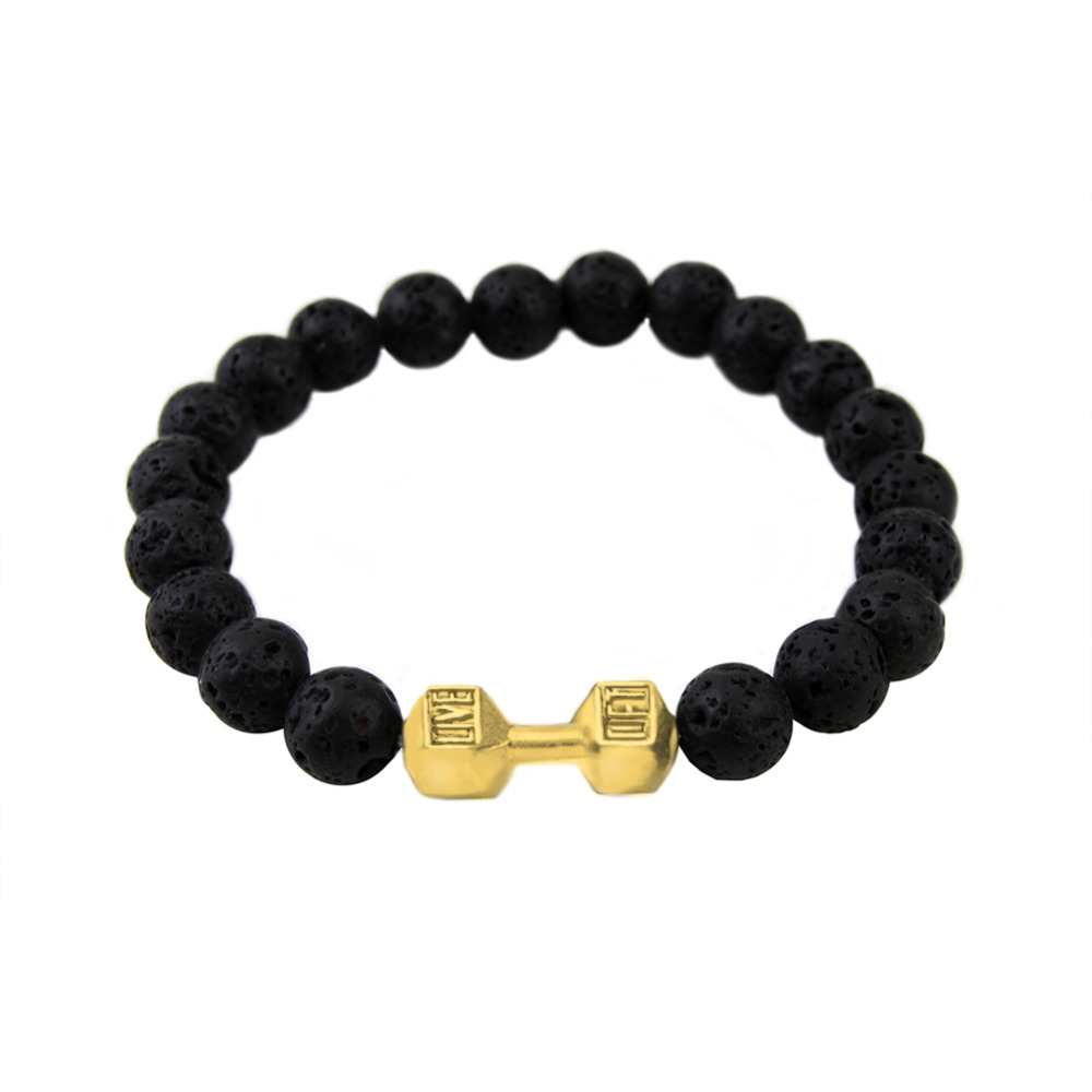 2016 Men Gift New Arrival Alloy Metal Black Lava Rock Stone Beads Bracelets  Fitness Fashion Dumbbell Bracelets
