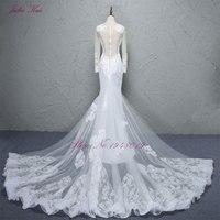Julia Kui A Line свадебное платье трансформер Scalloped средства ухода за кожей шеи Дешевые кружево 2 в 1 невесты платья для женщин со съемным шлейфом