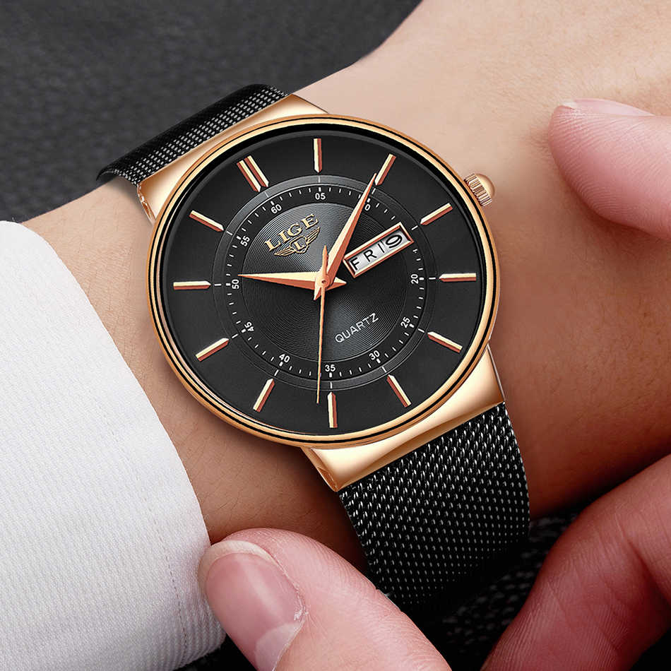 Relojes LIGE para hombre, regalo de marca superior, reloj de pulsera resistente al agua de lujo, reloj de cuarzo ultradelgado con fecha para hombre, reloj deportivo Erkek Kol Saati