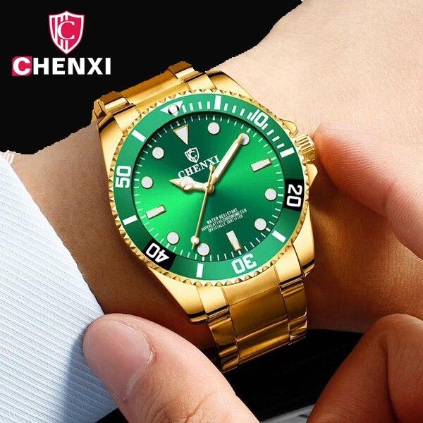 CHENXI De Luxe Or Hommes Montres D'or Vert Robe Montre-Bracelet pour les Hommes RX D'affaires Décontractée Étanche Lumineux Mains Horloge À Quartz
