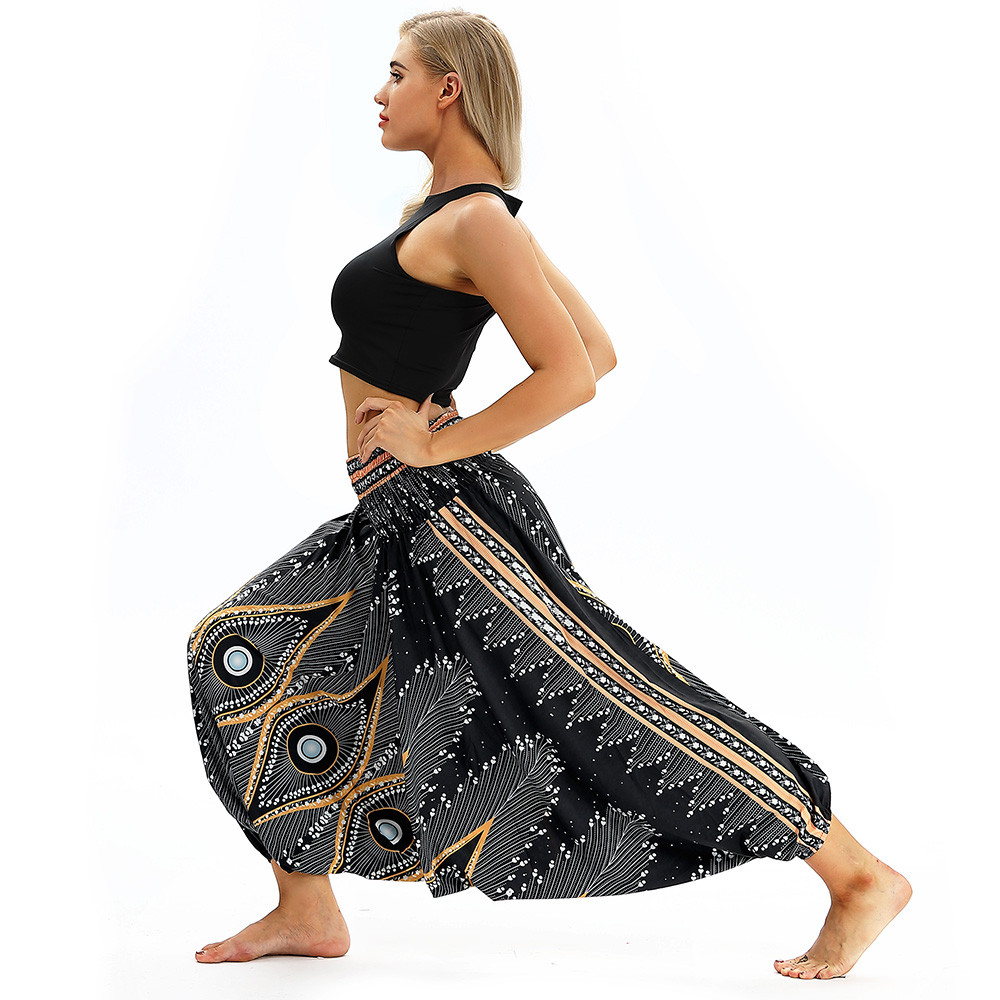 Women Men Pants Casual Woman High Waist Wide Leg Harem Trousers Baggy Boho Loose Aladdin Festival Hippy Jumpsuit Print Lady pant 65