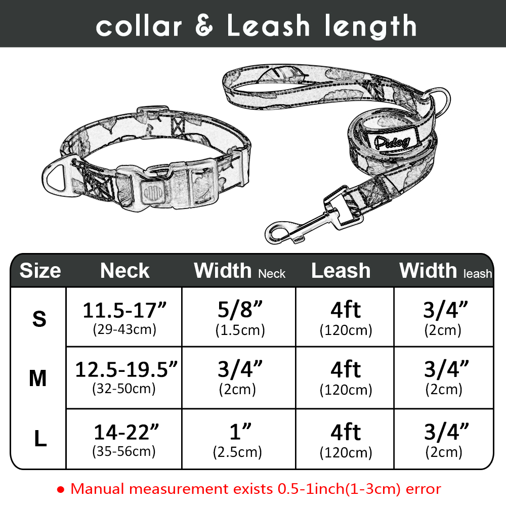 Plot - Printed Dog Collar Nylon Dog Walking Leash Pet Collar Leash for Puppy Small Medium Dogs Chihuahua French Bulldog Pitbull