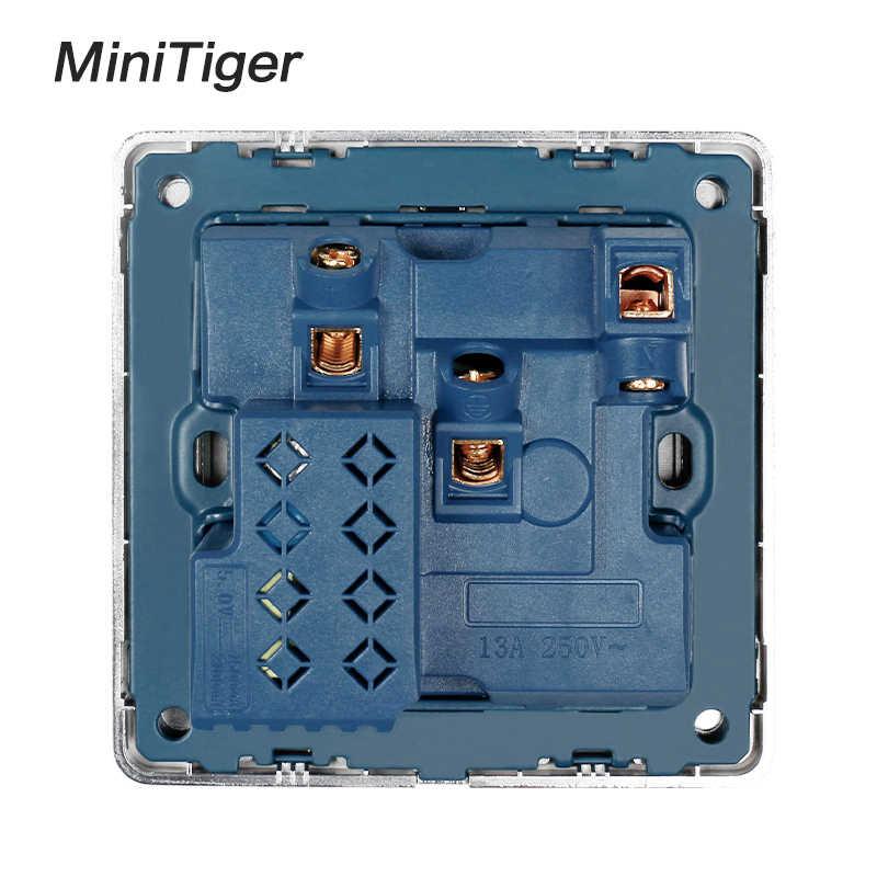 Minitiger ścienne gniazdo zasilające standardowe gniazdo w wielkiej brytanii z Neon 2.1A podwójny Port USB ładowarki rama ze stali nierdzewnej czarny wylot