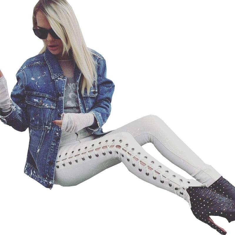 Autumn New Bandage Lace Up Jeans Women Fashion Elastic