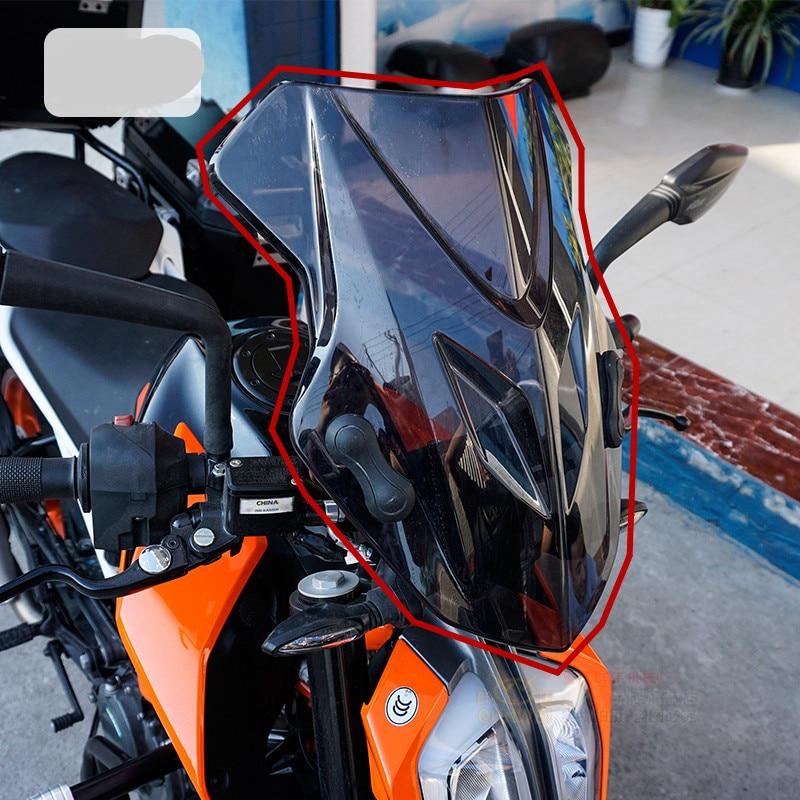 Motorbike For KTM Duke 390 2017 2018 Duke390 Windscreen Windshield Shield Screen With Bracket In
