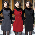 4XL!  Brand fashion women's new European style bow sleeveless silm woolen vest winter dress