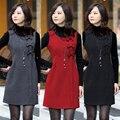 4XL! marca de moda silm das mulheres novo estilo Europeu sem mangas arco colete de lã vestido de inverno