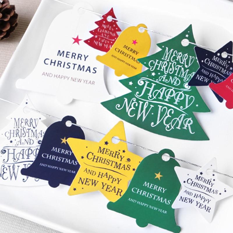 28 ADET Kraft Kağıt Etiketleri Noel Asılı Malzemeleri Hediye Paketi Kutusu Süslemeleri Gökkuşağı ve Basit Tarzı DIY Karalama Defteri El Sanatları