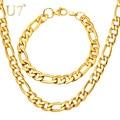 U7 caliente gold fashion plateó la joyería de los hombres collar al por mayor de moda de acero inoxidable de 5mm cadena figaro pulsera del collar s430