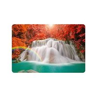 Warm Tour Fall Red Leaf Trees Anti slip Door Mat Home Decor Waterfall Rainbow Indoor Outdoor Entrance Doormat Rubber Backing
