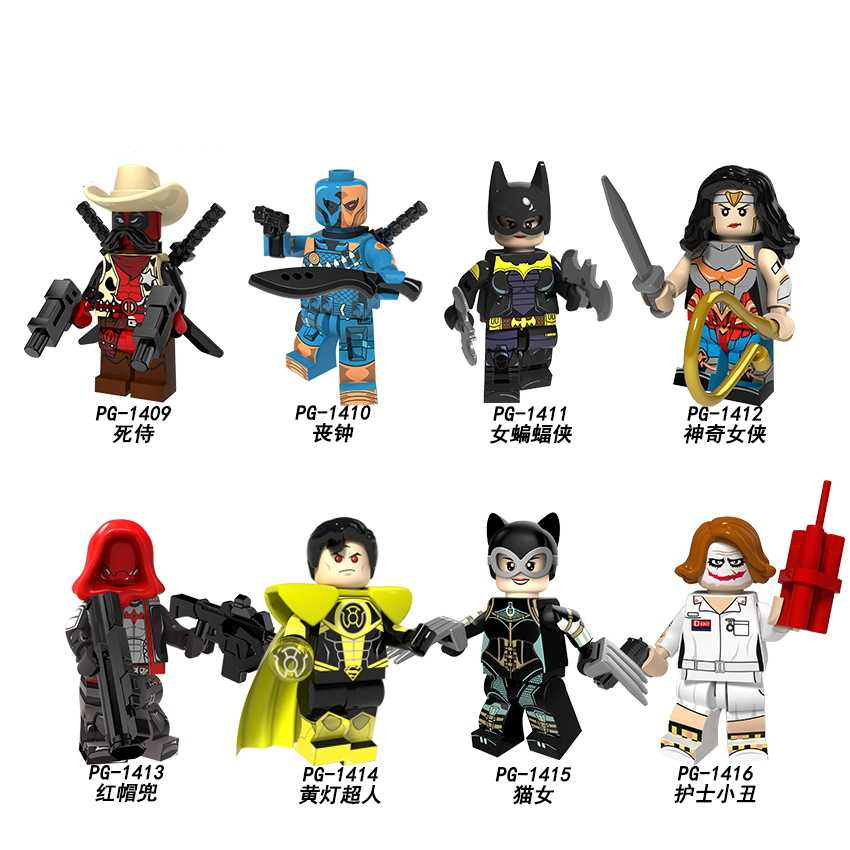 DC Super HERO Dick คาวบอย Deadpool Deathstroke Catwoman JOKER Red Hood Raccoon Ghost Rider บล็อกของเล่น Legoed Minifigured